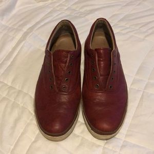 Frye Greene Deck Leather Sneakers in Burgundy